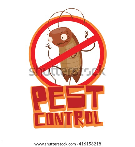 """Vector image of a round red crossed-out sign with cartoon image of a funny brown cockroach sneaking somewhere in the center on a white background. Inscription """"Pest control"""". Vector illustration. - stock vector"""