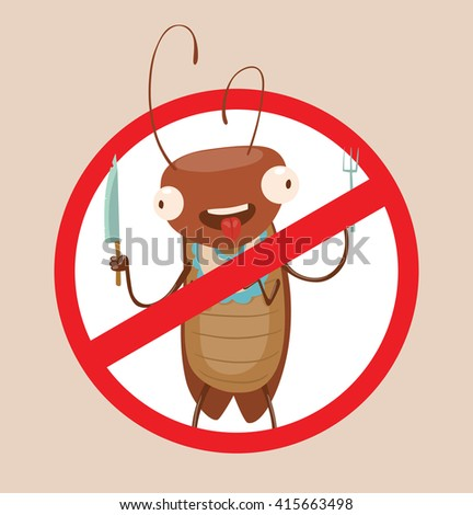 Vector image of a round red crossed-out sign with cartoon image of funny brown cockroach with a knife and fork in the center on a gray background. Anthropomorphic cartoon cockroach. Pest control.  - stock vector