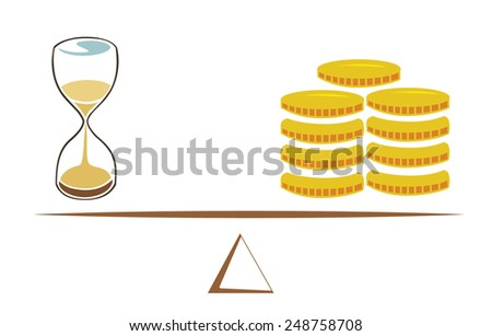 Vector image of a sand timer and coins on a scale - stock vector