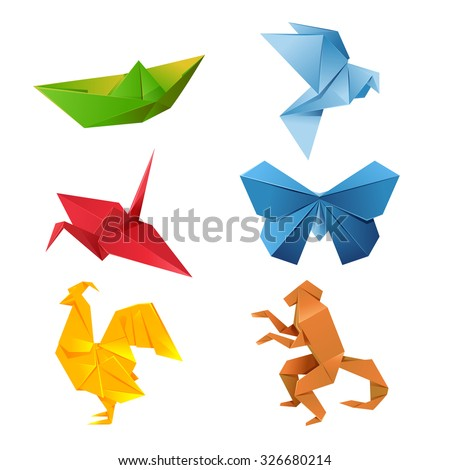 vector image of a set of colorful origami animals - stock vector