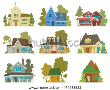 Vector image of a set of different cute cartoon houses of different colors with green trees on a white background. Nine colored houses in flat style. Vector illustration.