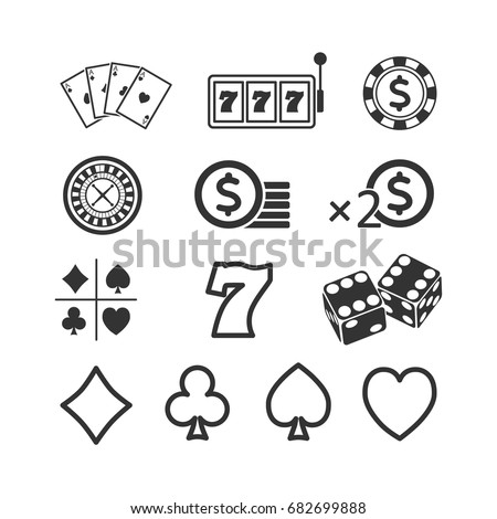 Vector image of a set of gaming icons.Casino icons.
