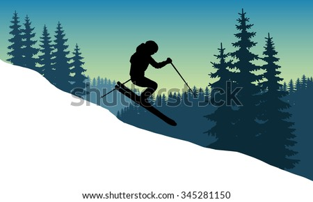 Vector image of a skier in a helmet with a mountainside down at speed.  Winter sport. Trick. The descent from the mountains in the background of mountains and forests. Jump while descending skiers. - stock vector