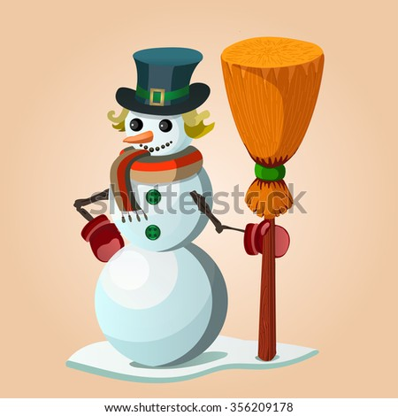 Vector image of a snowman with a broom