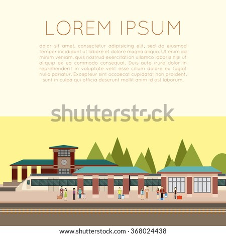 Vector image of a suburban train station - stock vector