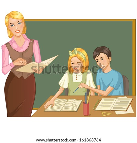 Vector image of a teacher in the classroom who gives a lesson to boy and girl - stock vector