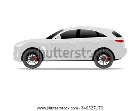 Vector image of a white SUV car with black wheels