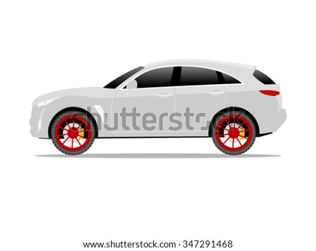 Vector image of a white SUV car with red wheels - stock vector