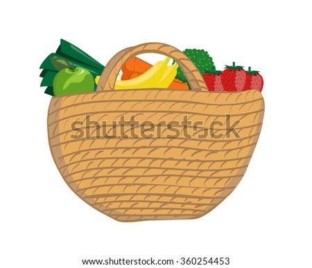 Vector image of a wicker shopping basket with fruit and vegetables