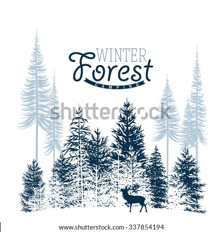 Vector image of a winter wood. It can be used as a background. - stock vector
