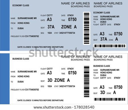 Vector image of airline boarding pass tickets with barcode - stock vector