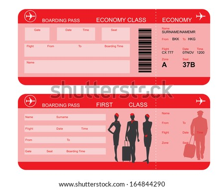 Vector image of airline boarding pass tickets with barcode and flight attendant silhouettes - stock vector
