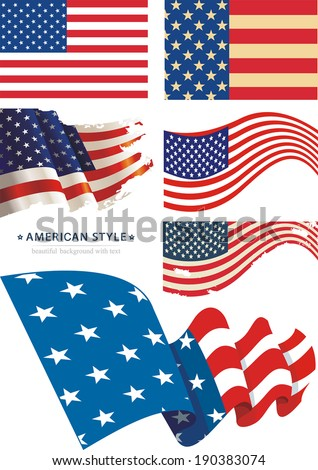 Vector image of American flag - stock vector