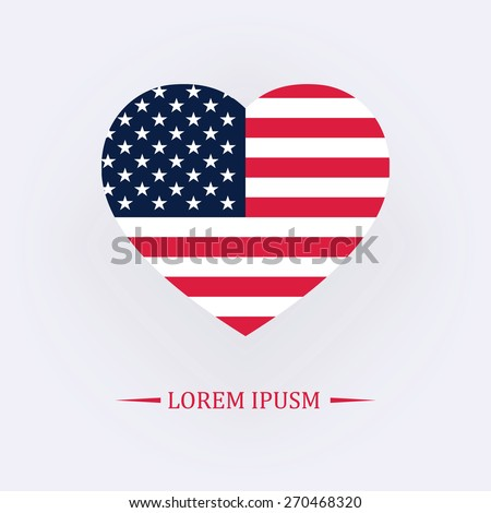 Vector image of American flag in heart - stock vector