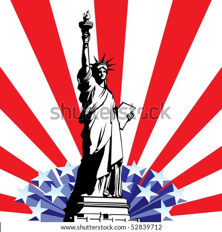 vector image of American symbols of freedom. Statue of Liberty on the background of a stylized flag United States - stock vector
