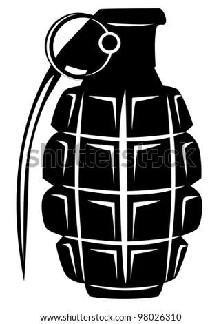 Vector image of an army manual grenade - stock vector