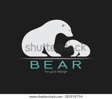 Vector image of an bear on black background - stock vector