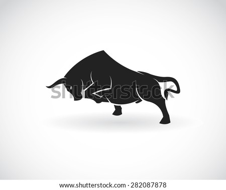 Vector image of an bull on a white background - stock vector