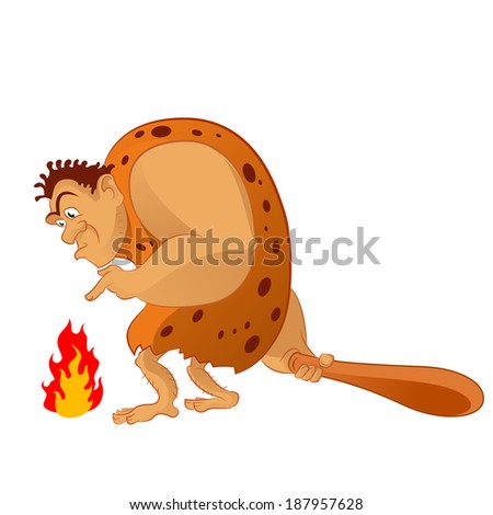 Vector image of an cartoon caveman and the fire - stock vector