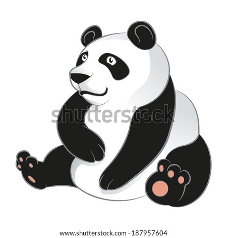 Vector image of an cartoon smiling Panda