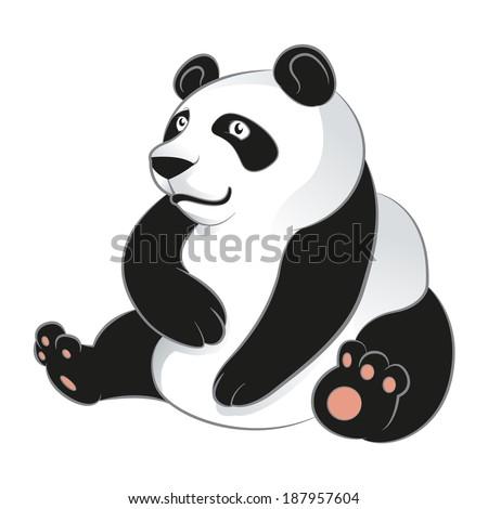 Vector image of an cartoon smiling Panda - stock vector