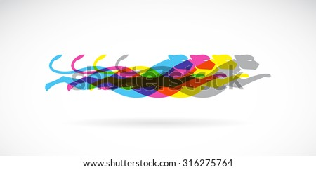 Vector image of an cheetah design on white background and red background, cmyk - stock vector