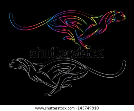 Vector image of an cheetah on black background - stock vector