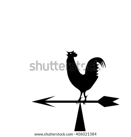 Vector image of an cock on white background. Weather vane in the form of a black rooster on the boom - stock vector