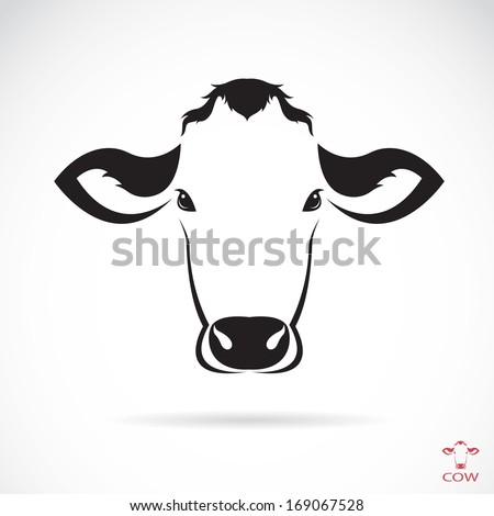 Vector image of an cow head on white background - stock vector