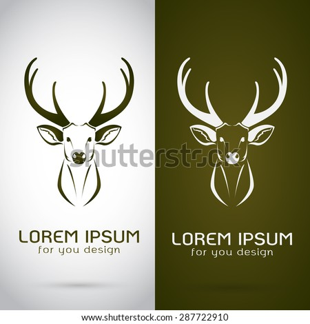 Vector image of an deer design on white background and brown background, Logo, Symbol - stock vector