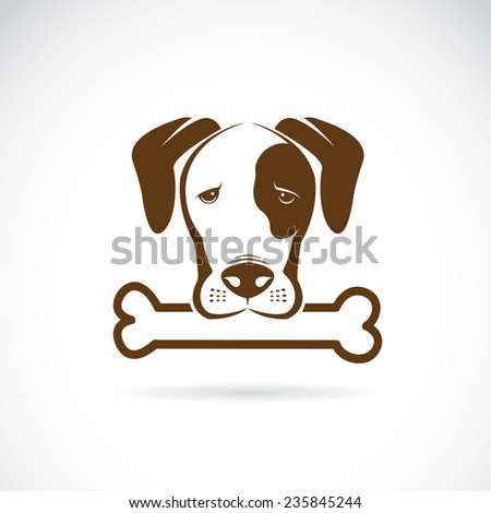 Vector image of an dog and bone on a white background. - stock vector