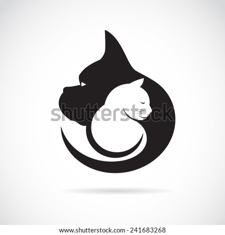 Vector image of an dog and cat on white background - stock vector