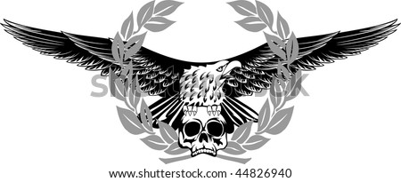 Vector image of an eagle sitting on skull - stock vector
