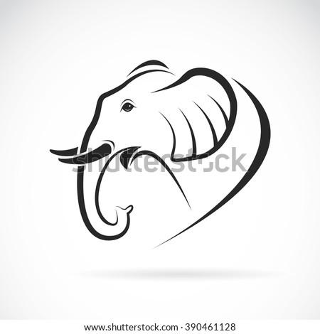 Vector image of an elephant head design on white background, Vector elephant head for your design. - stock vector