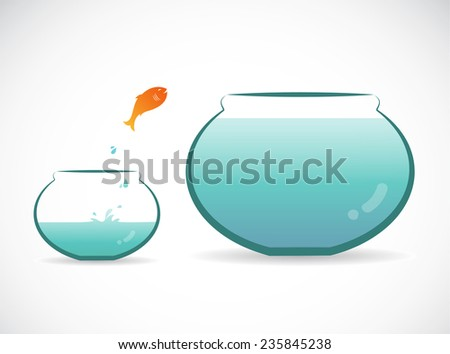 Vector image of an fish jumping out of aquarium. Freedom concept. - stock vector