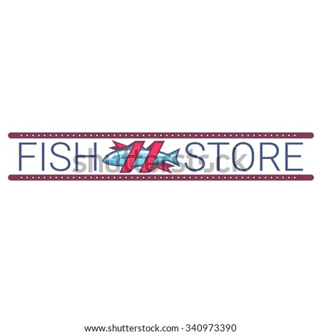 Vector image of an fish. Logo template fish shop store.