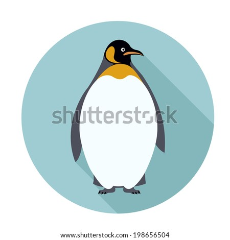 Vector image of an flat icon with Penguin - stock vector