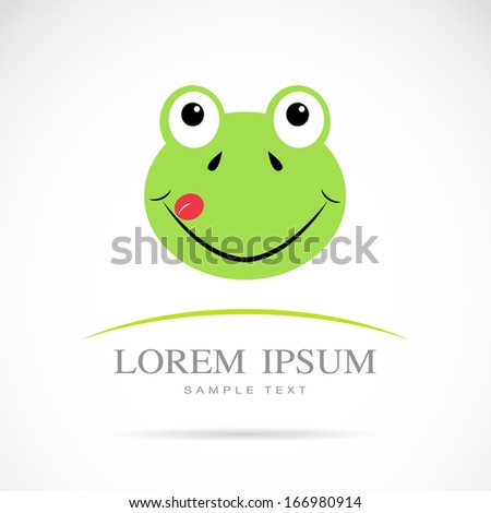 Vector image of an frog head on white background - stock vector