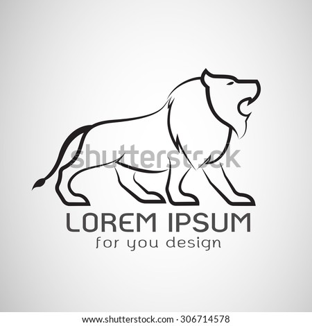Vector image of an lion design on white background, Animals - stock vector