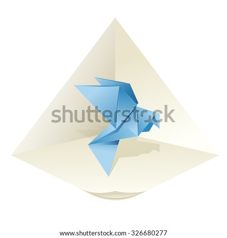 Vector image of an origami blue pigeon