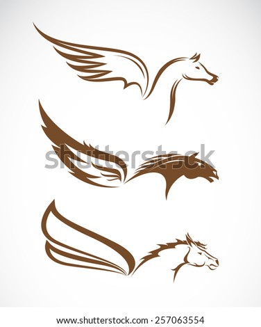 Vector image of an pegasus winged horses on white background - stock vector