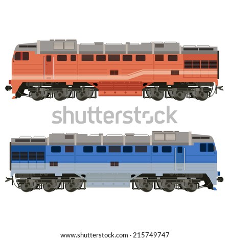 Vector image of an real-looking shiny Locomotive
