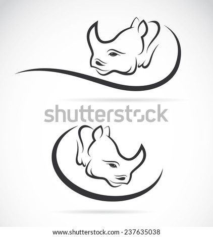 Vector image of an rhino design on white background - stock vector