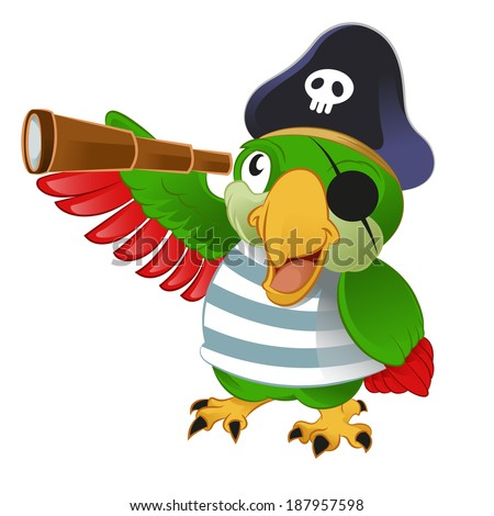 Vector image of an smiling cartoon pirate parrow - stock vector