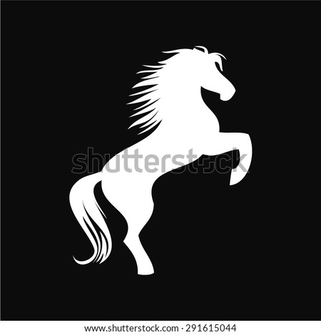 Vector image of an white horse on black background - stock vector