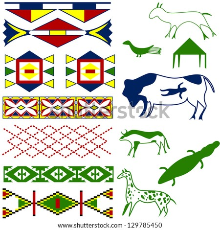 Vector image of ancient American pattern with animals on white - stock vector