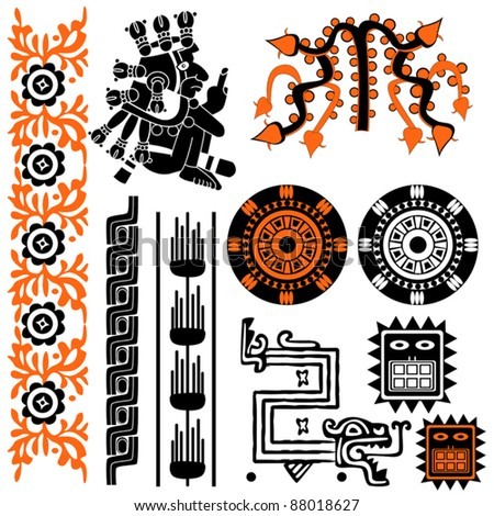 Vector image of ancient american patterns on white - stock vector
