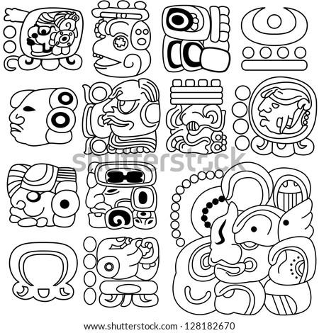 Vector image of ancient Mayan hieroglyphs on white - stock vector