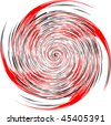 Vector image of black, red and white spiral - stock vector