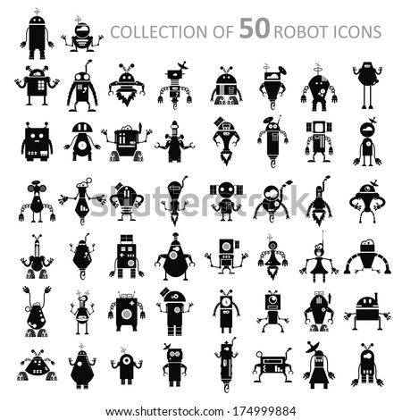 Vector image of black retro robot icons - stock vector